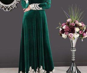 Kadife Tesettür Abiye,Tesettür Pazarı Kadife elbiseler,Günlük Kadife Elbise Modelleri,Zümrüt Yeşili Kadife Elbise Tesettür